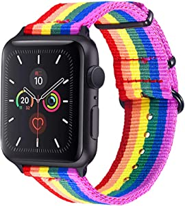 Bandmax Compatible For Rainbow LGBT Apple Watch Bands 42MM 44MMN Nylon Fabric Cloth Sport Straps Women Men Gay Pride Replacement Wristband Accessories Black Metal Buckle For iwatch Series SE 6/5/4/3/2/1