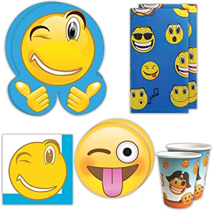 Blue Orchards Emoji Party Supplies Kit 70 Pieces For 16 Guests Emoticon