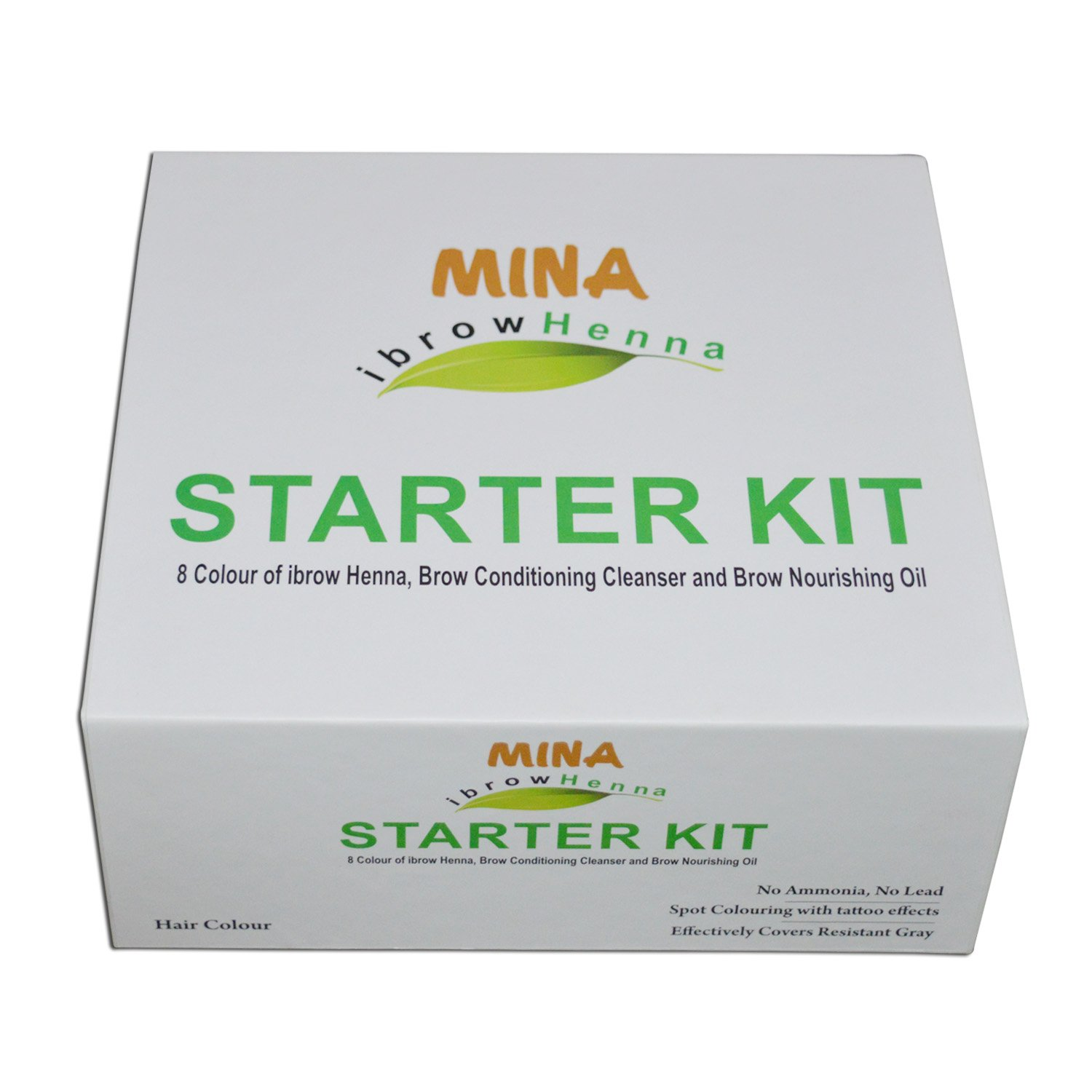MINA Ibrow Henna Starter Kit (8 Colors of Ibrow henna,Brow Conditioning Cleanser & Brow Nourishing Oil