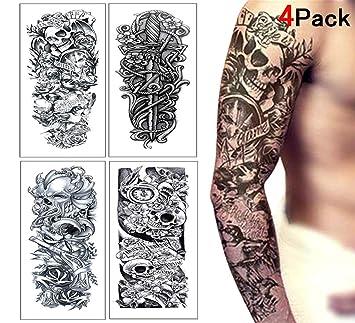 Tatouage éphémère Homme Femme Temporary Tattoo Faux Tatouage Bras Pour Adulte Manchette Tatouage Lion Rose Dragon Crâne Mort Tatoo Noir Tatouage