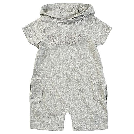4e027989f MOMOLAND Infant Baby Boys Girls Hooded French Terry Romper Gray Heathered  Shortall Short Sleeves (1