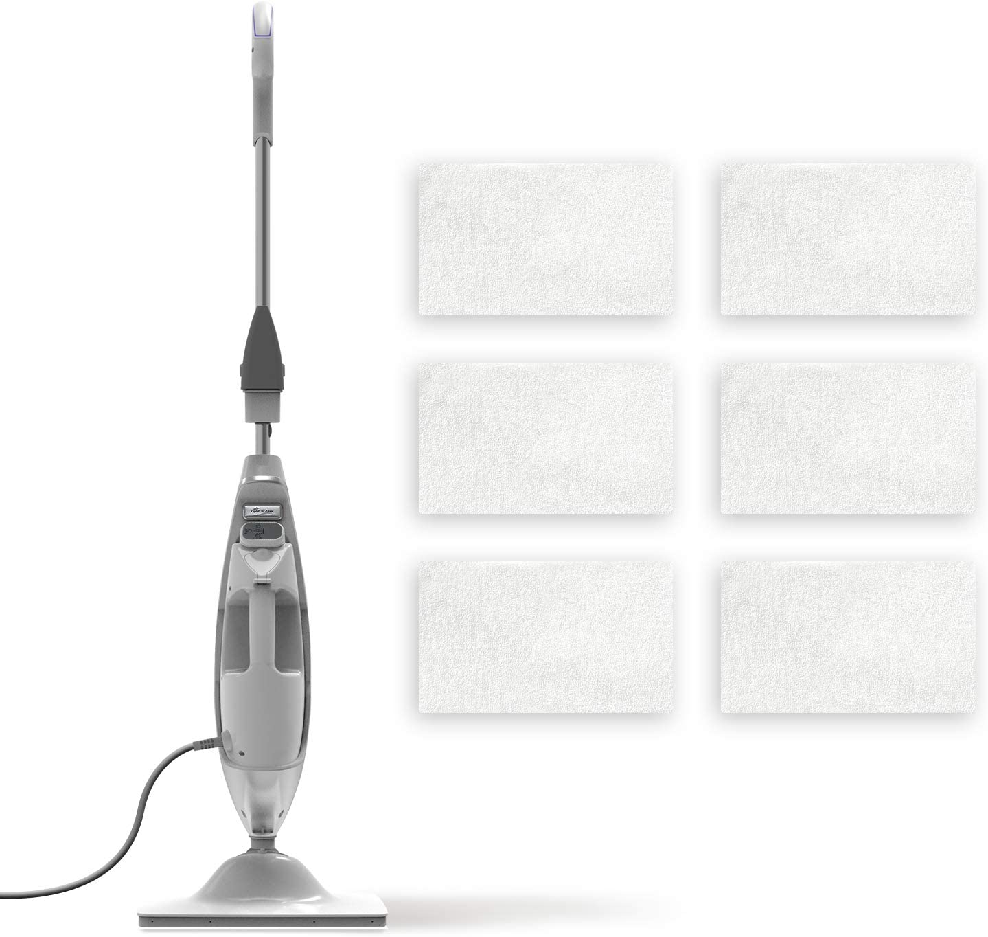 LIGHT 'N' EASY Steam Mop,Steam Cleaner with Detachable Handheld Unit Floor Steamer Cleaner for Hardwood,Grout,Tile,7688ANW+7pcs Steam Mop Pads