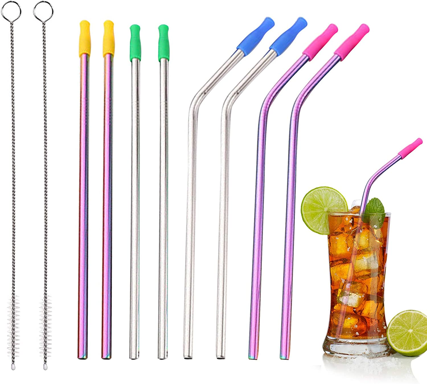 Metal Straws with Silicone Tips Stainless Steel Smoothie Straw Set Reusable Drinking Straws with Straw Cleaner & Pouch for 20 OZ Tumblers Mother's Day Gift for Women