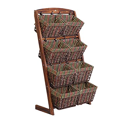 Exceptionnel Storage Basket 4 Tier Floor Rack Stand Hanging Tower Shelving 8 Baskets  Display Organizer Wood