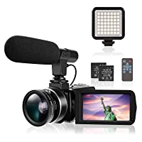 Camcorders Video Camera TYCKA Camcorder 4K UHD with Microphone & LED Fill Light for YouTube Vlogging 18X 30MP 3.0