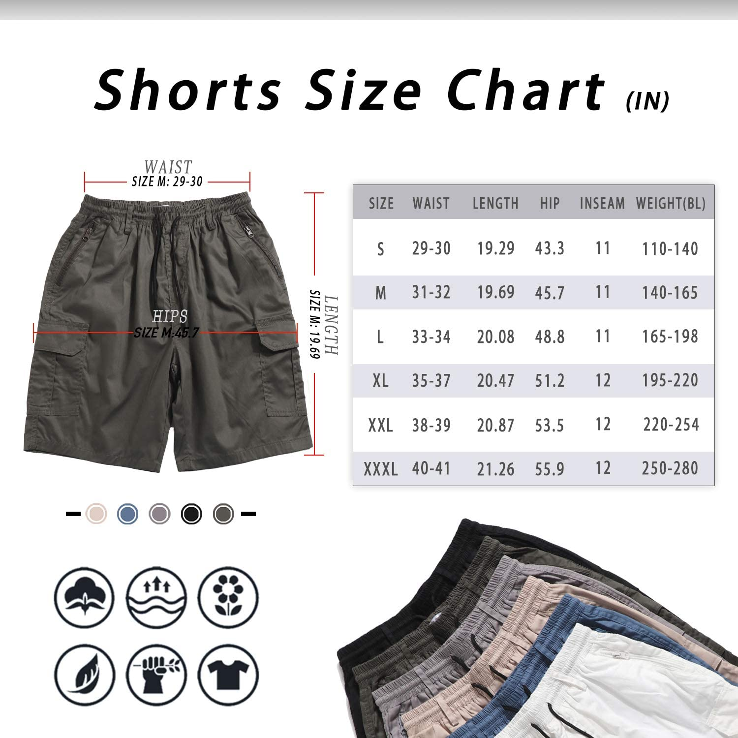 ELETOP Mens Cargo Shorts Summer Plain Work Shorts Lounge Casual Combat Shorts with Adjustable Drawstring