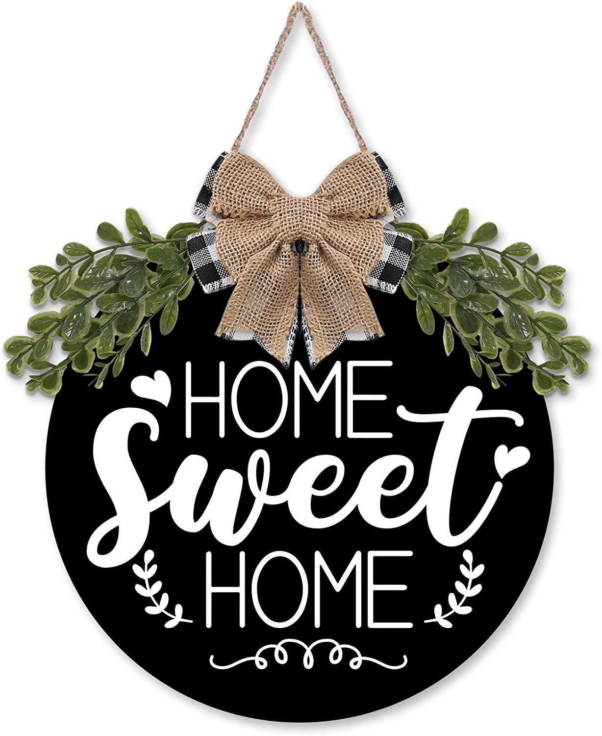 Home Sweet Home Wooden Circle Door Hanger Greenery Buffalo Plaid Burlap Bow Front Wall Sign Rustic Farmhouse Housewarming Decoration Ideas Supplies 12 Inches-Black
