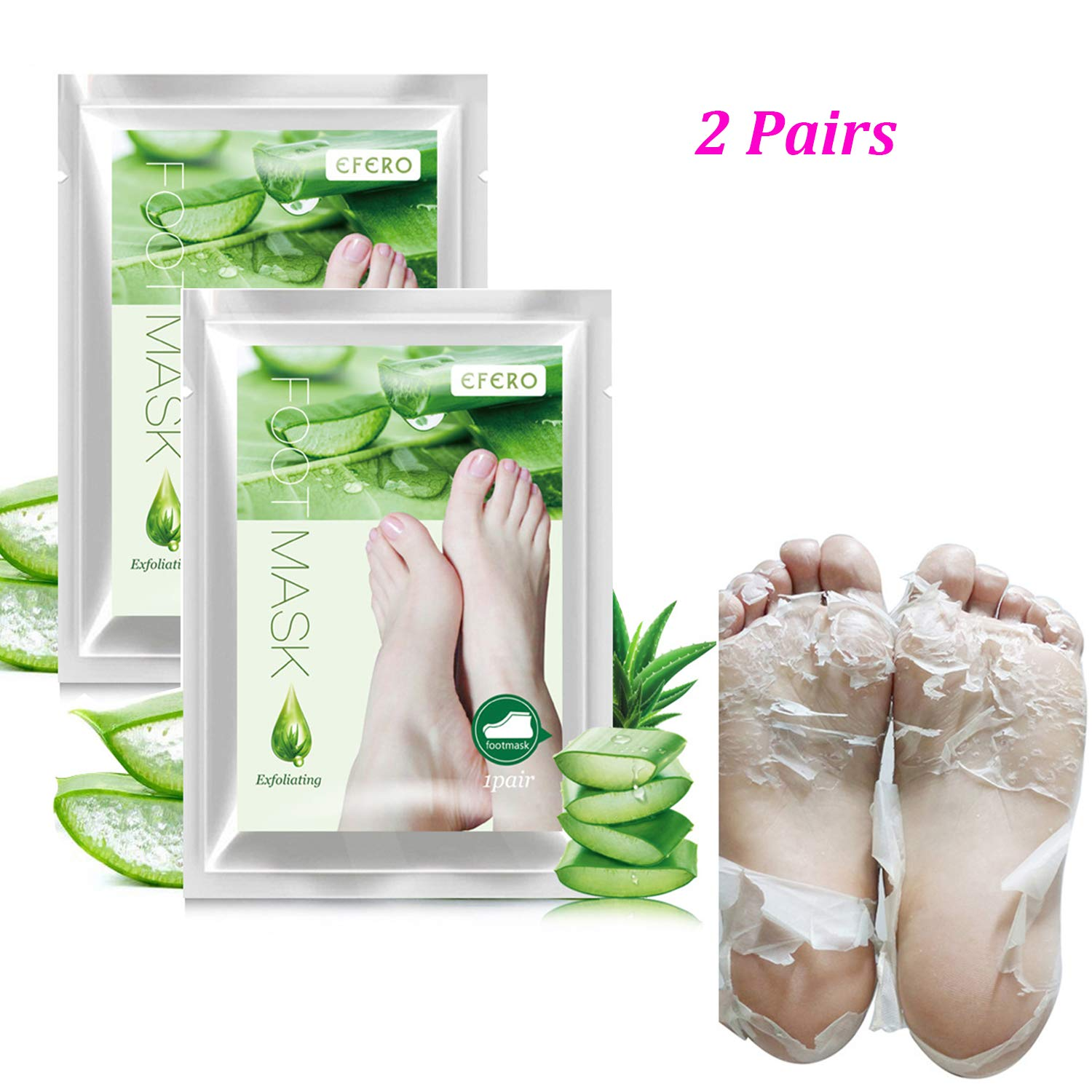 2 Pairs Foot Peel Mask, High Key Aloe Scented Foot Exfoliating Callus Peel Booties, Get Soft Baby Your Foot Naturally in 1 Week