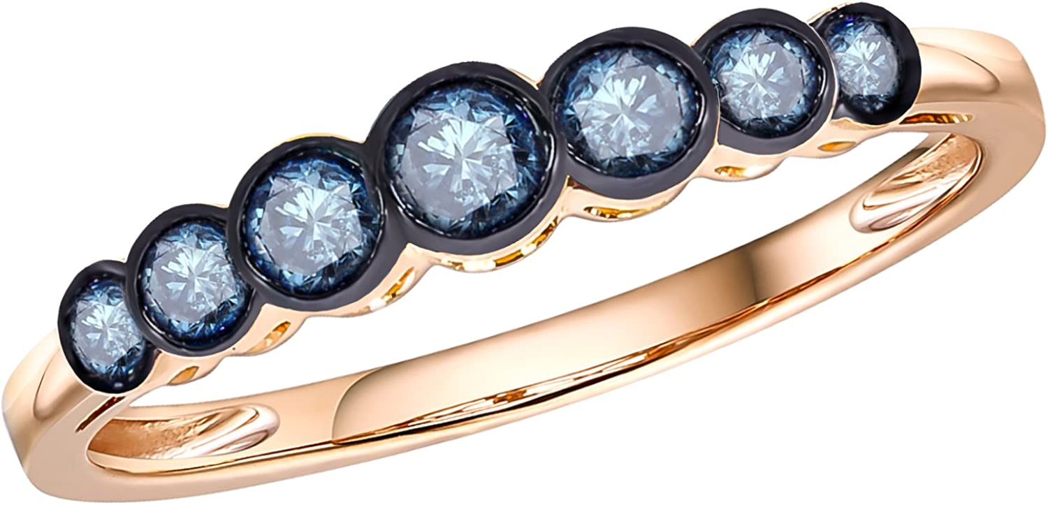 Prism Jewel 0.23Ct Round Cut Blue Diamond Bezel Set 7 Stone Ring Crafted In 14k Gold