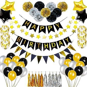 Decoraciones de fiesta de color negro y dorado, pancarta de ...