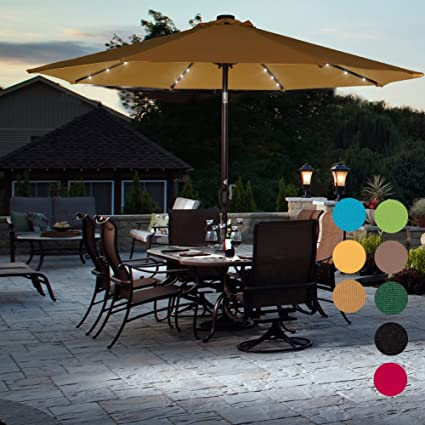 Lighted Umbrella For Patio Extraordinary Amazon Sundale Outdoor Solar Powered 60 LED Lighted Patio