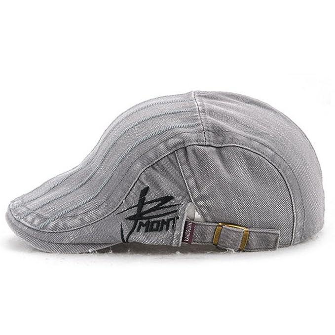 KeepSa Unisex Cotton Embroidery Stripe Beret Hat Duckbill Golf Flat Buckle  Visor Cabbie Cap for Men Women  Amazon.co.uk  Clothing 58e9d8b20076