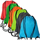 6 Pack Drawstring Backpack Bags fabric Folding Shoulder Tote Sack Cinch Bag for Picnic Gym Sport Beach Travel Storage 6 Colors