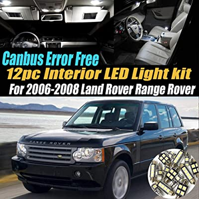 12Pc Canbus Error Free Super White 6000K Car Interior LED Light Kit Compatible for 2006-2008 Land Rover Range Rover Equipped w/Advanced Computer system: Automotive
