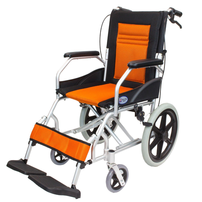 ケアテックジャパン 介助式車椅子 CA-22SU ハピネスライト -介助式- (オレンジ) B01ND0TK67 オレンジ オレンジ