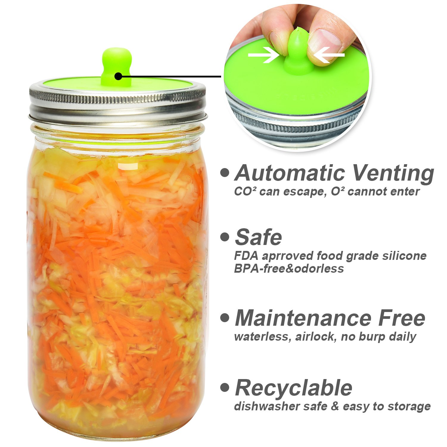 6-Pack Waterless Airlock Fermentation Lids for Wide Mouth Mason Jars, Mold Free, Food-Grade Silicone Easy Fermenting Lids for Sauerkraut, Kimchi, Pickles or Any Fermented Probiotic Food (3 Colors) by Siliware (Image #2)