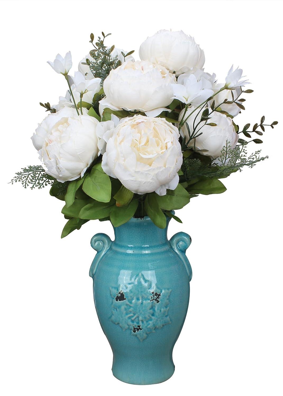 Amazon.com: Duovlo Artificial Peony Silk Flowers Fake Flowers ...
