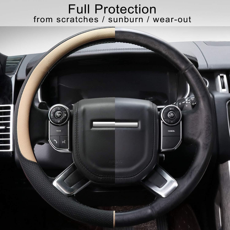 Negro COFIT Cubierta de Volante de Cuero de Microfibra Transpirable y Antideslizante Universal L 39.2-41cm
