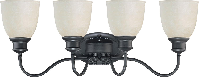 Nuvo 3灯シャンデリア ビスコッティガラスシェード付き 60/2803 1 B002VAZI0Y  ブロンズ(Aged Bronze)
