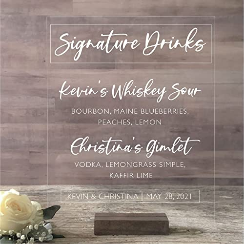 Clear Wedding Bar Sign with Stand Funny Acrylic Sign for Event Drink Station Drinks On Us Acrylic 8X10 Open Bar Wedding Sign
