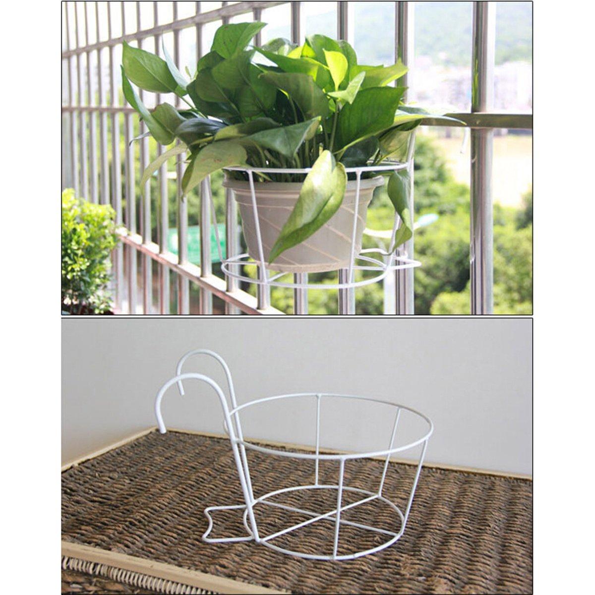 OUNONA Eisen-Gel/änder Blumentopfhalter H/ängende Blumenregal Pflanzenregale f/ür Haus Garten Balkon Deko Gr/ö/ße S(Wei/ß)