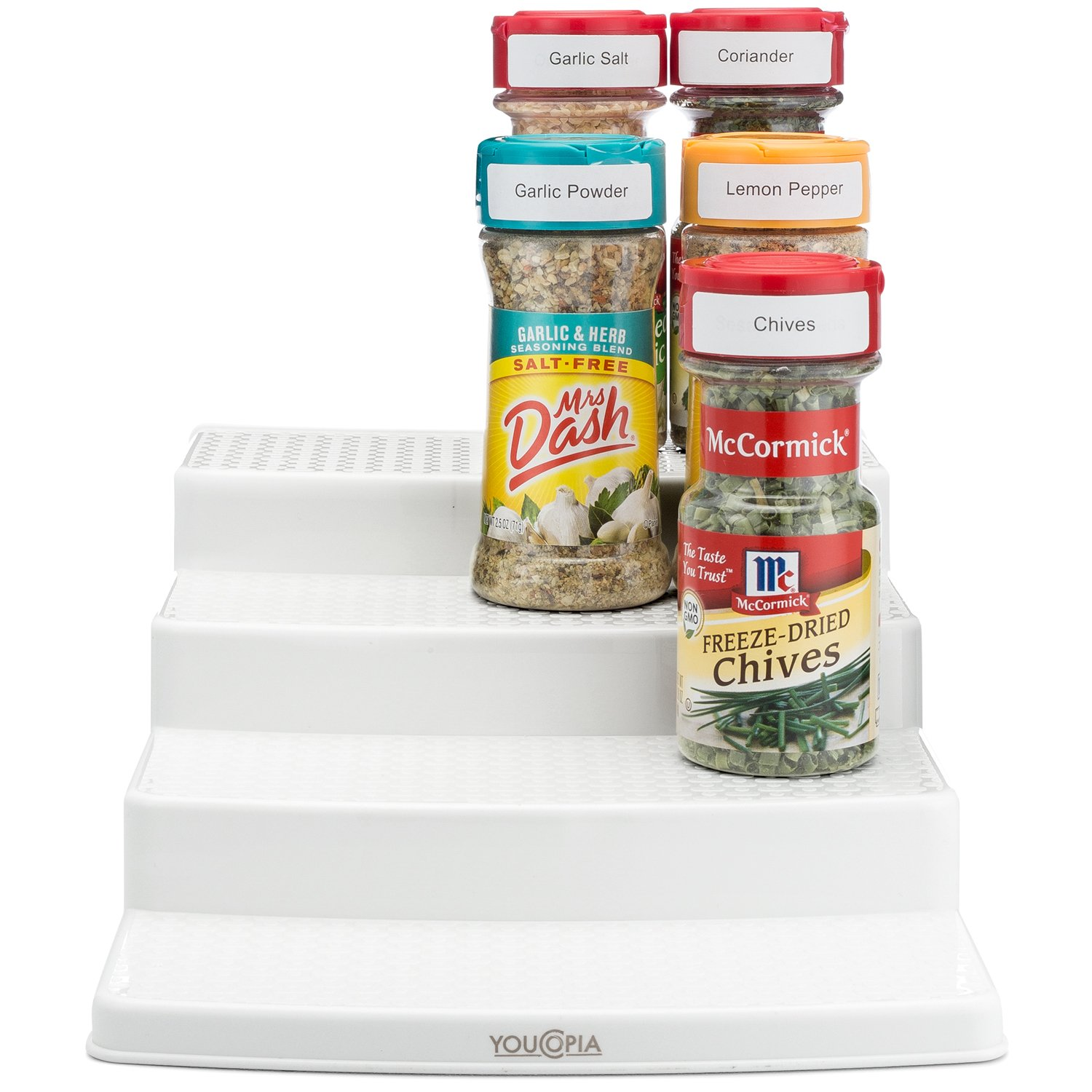 youcopia spicesteps 4tier cabinet spice rack organizer white 12bottles product