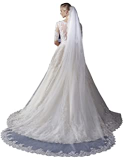 kelaixiang 2T 2 Tier Elbow Lace Appliques Edge Bridal Veils with Comb
