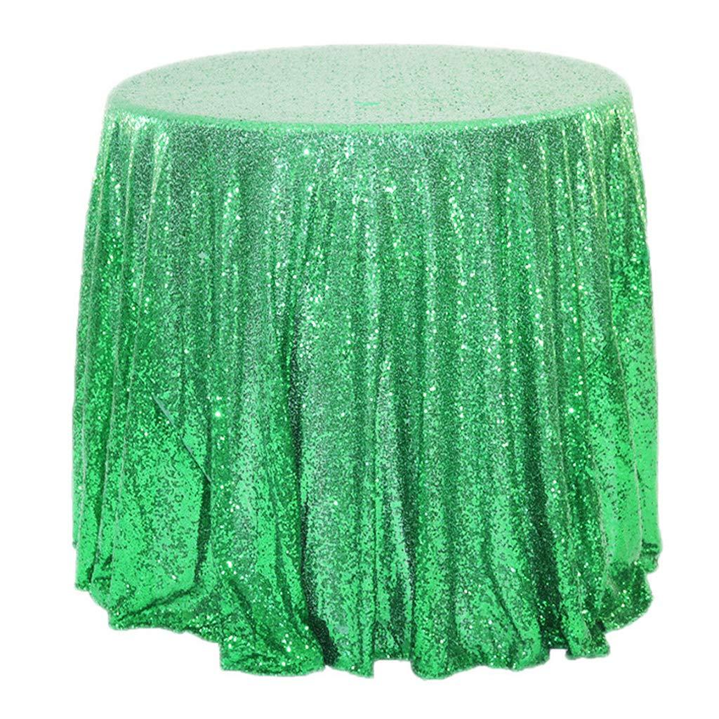 プレミアムテーブルクロス、ラウンドポリエステルスパンコール刺繍入りテーブルクロス、ホテルのレストランに最適ウェディングブライダル&その他(マルチカラー、マルチサイズ) 131.8 in green B07RKJCX12