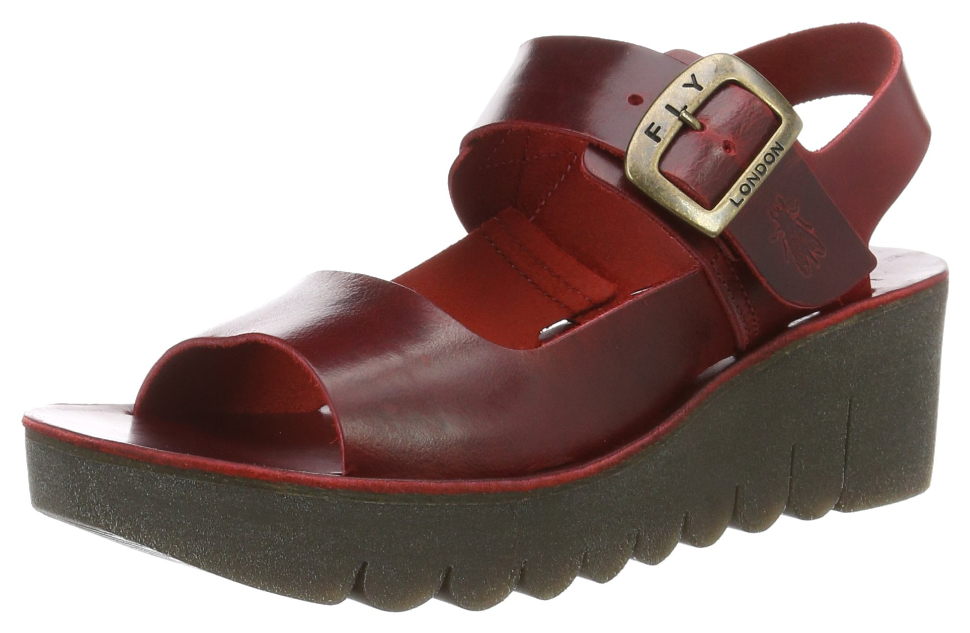 Womens Fly London Yail Bridle Holiday Open Toe Summer Leather Sandals - Red - 8
