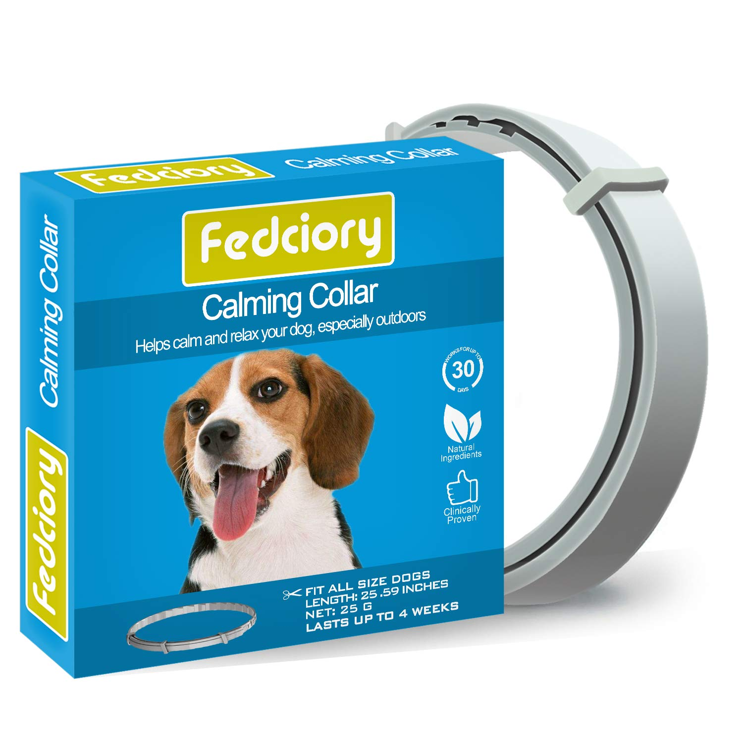 Fedciory Calming Collar for Dogs Adjustable Pheromone Calm Collars fits All Small Medium and Large Dog to Relieve Anxiety -25.59 Inches by Fedciory