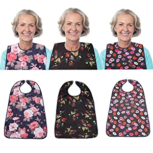 """3 Pack Adult Bib for Eating Washable Reusable Waterproof Clothing Protector with Optional Crumb Catcher 29.5"""" x 19.3"""" Women (3 Pack)"""