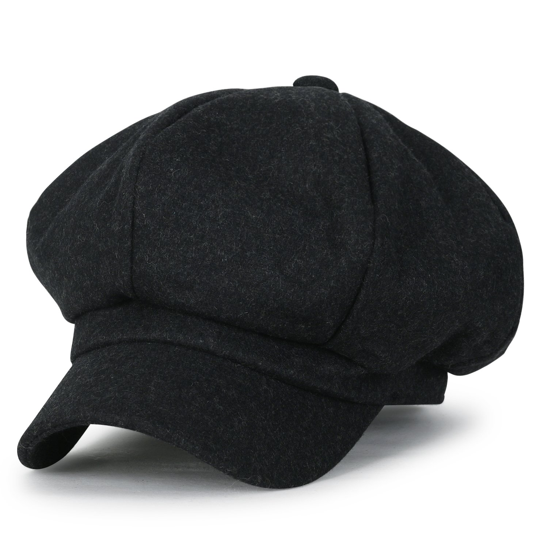 ililily Solid Wool-Blended Felt 8 Panel Newsboy Hat Duck Bill Gatsby Flat Cap