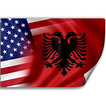 Sticker decal with flag of albania and usa albanian