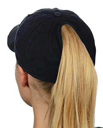 a5156c5a4fc D Y Ponyflo Ponytail Messy High Bun Distressed Adjustable Cotton Baseball  Cap