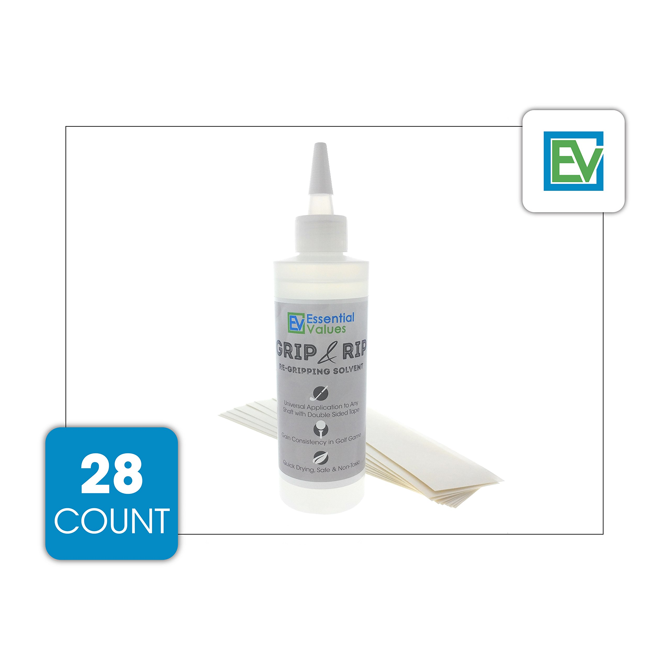 Essential Values Golf Regripping Kit, Best Value - Reusable 8oz Solvent & 28 Tape Strips To Regrip Your Entire Golf Grip Set (8 OZ Solvent & 28 Strips) by Essential Values (Image #2)