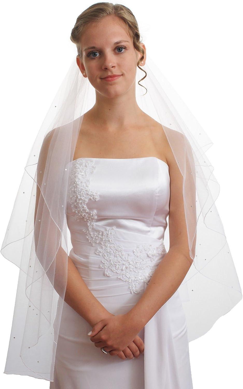 SparklyCrystal Womens Wedding Veil 2 T Pencil Edge Crystal VE6A2