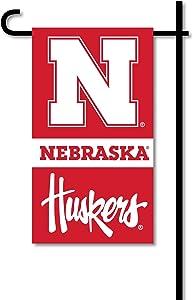 BSI NCAA Nebraska Cornhuskers Unisex Mini Garden Flag W/Polemini Garden Flag W/Pole, Red, One Size