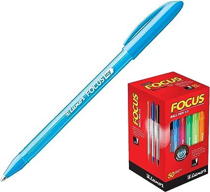 Luxor Focus Icy - Pack de 50 bolígrafos, color azul claro: Amazon.es: Oficina y papelería
