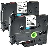 "NineLeaf 2 Pack Black on White TZe-221 TZ221 TZe 221 Standard Laminated Label Tape Compatible for Brother P-Touch PT1170s PT1180 PT1190 PT11Q PT1200 Label Printer 3/8"" x 26.2""(9mm x 8m)"