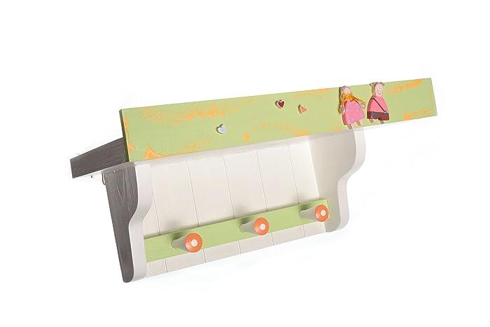 Amazon.com: Boy Girl Shelf With Hooks Wood Wall Mounted Nursery ...