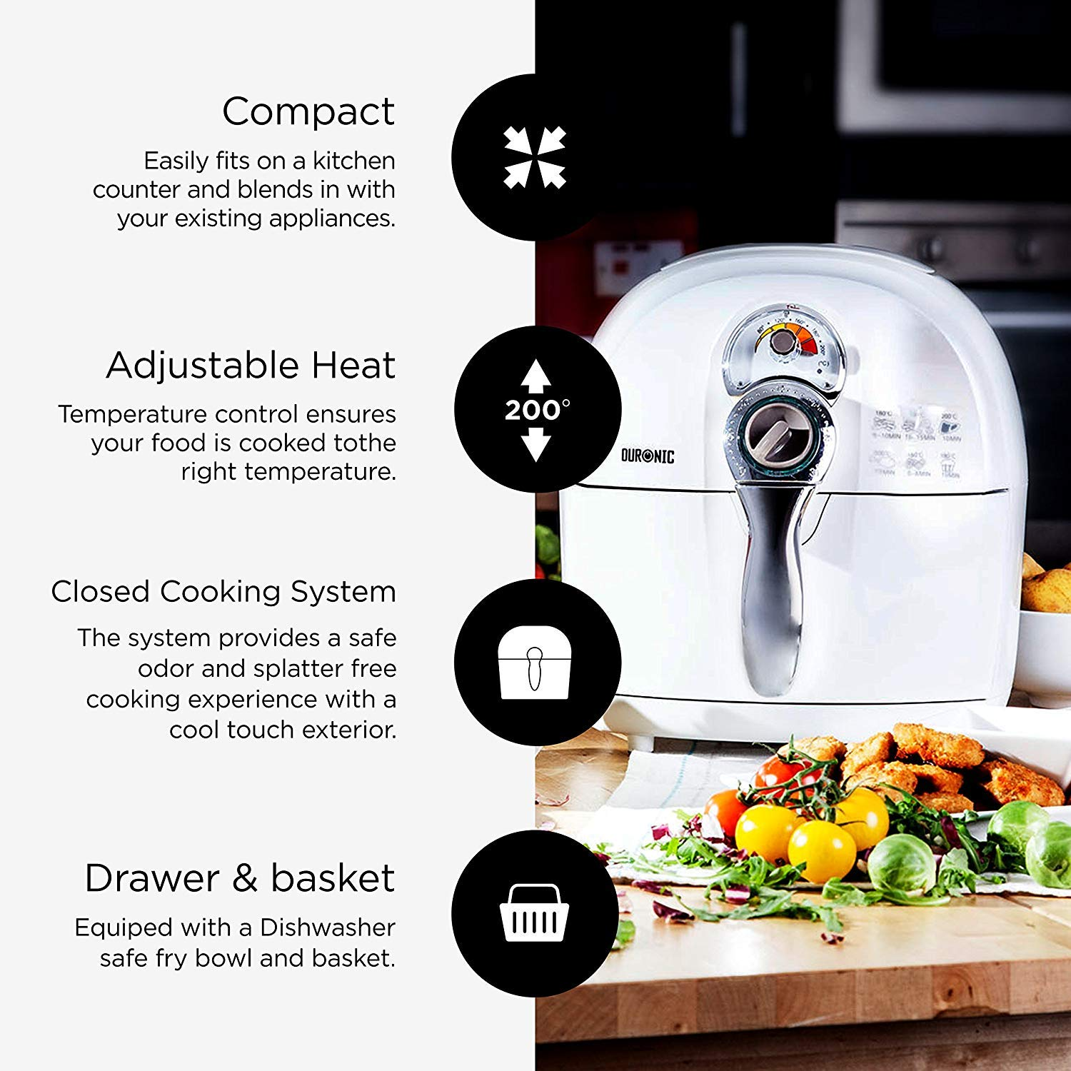 Free Recipe Book White Duronic Certified Refurbished AF1 //W Healthy Oil Free 1500W Air Fryer Multicooker