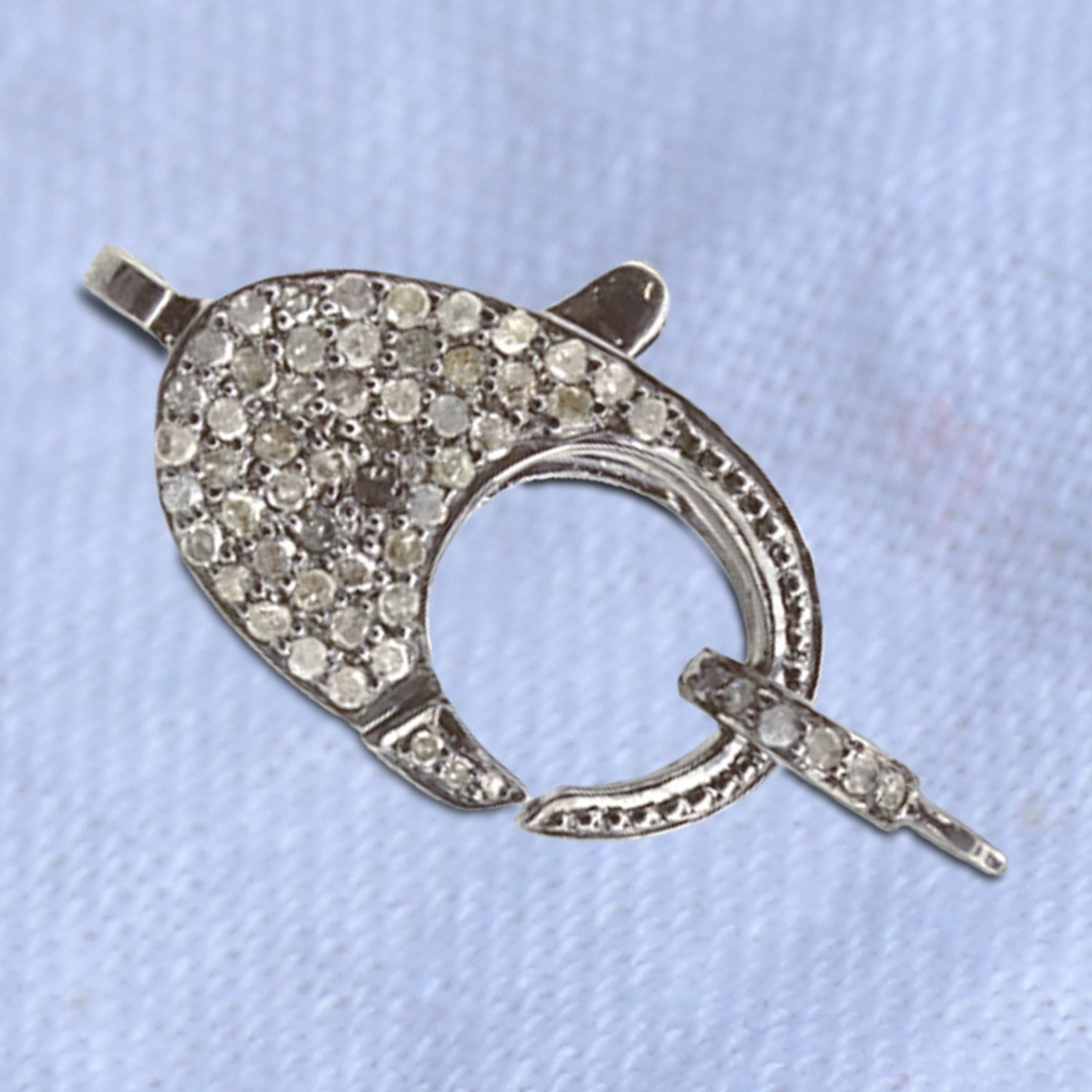 Christmas Sale Pave Diamond Sterling Silver Lobster Clasp Finding, 925 Sterling Silver Pave Diamond Clasp Finding Women Jewelry