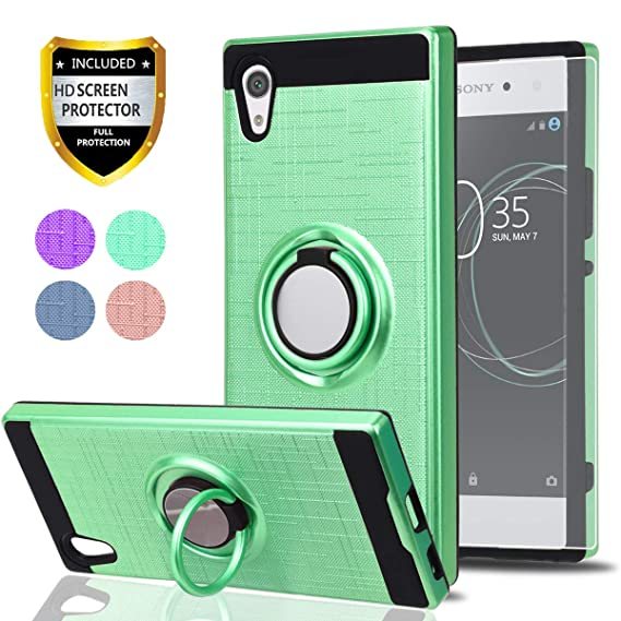 competitive price f726a 57269 Sony Xperia XA1 Case with HD Phone Screen Protector,Ymhxcy 360 Degree  Rotating Ring & Bracket Dual Layer Shock Bumper Cover for Sony Xperia XA1  ...
