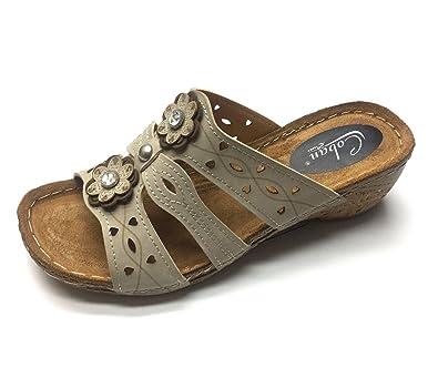 Damen Pantolette Slipper Sandalen Hausschuhe Pantoffeln Gr.36-42 Gezer 39 Beige aX5fb