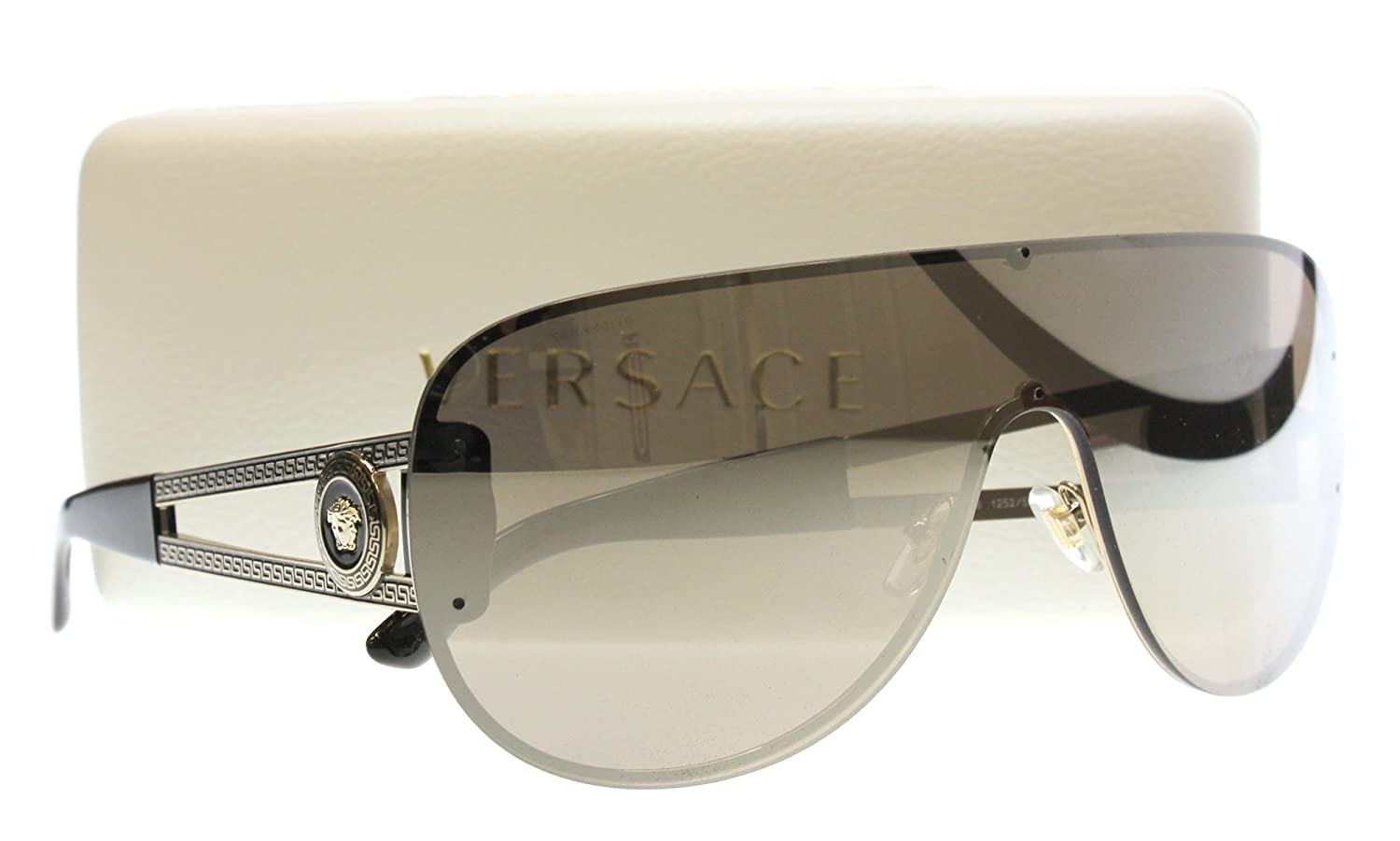6832050e79e21 Amazon.com  Versace Shield Sunglasses VE 2166 12525A Pale Gold  Clothing