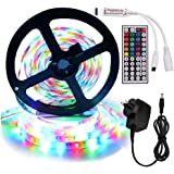 XUNATA 5m RGB LED Strip Lights Full Kit, 12V 2835 300LEDs Self Adhesive Strips + 44 Key Ir Controller + AU Power Supply (IP65 Waterproof, RGB (with Remote))
