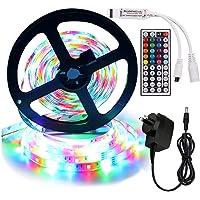 XUNATA 5m RGB LED Strip Lights Full Kit, 12V 2835 300LEDs Self Adhesive Strips + 44 Key Ir Controller + AU Power Supply…
