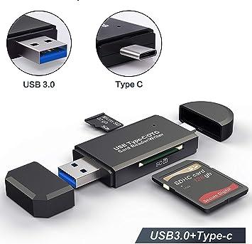 Hoonyer Lector de Tarjetas Memoria SD/Micro SD Lector Tarjetas SD USB 3.0 USB Tipo C para PC y portátil Smartphone ...