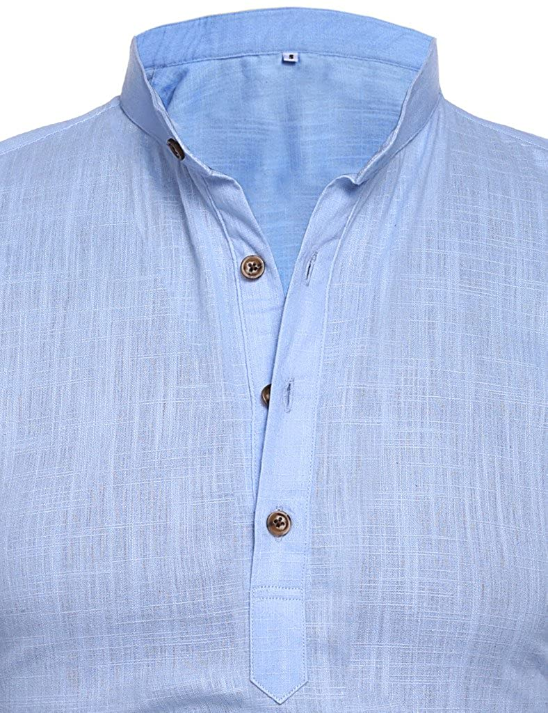 Mens Thin Henley Button-down Slim Fit Rollup Sleeve Shirt 3274