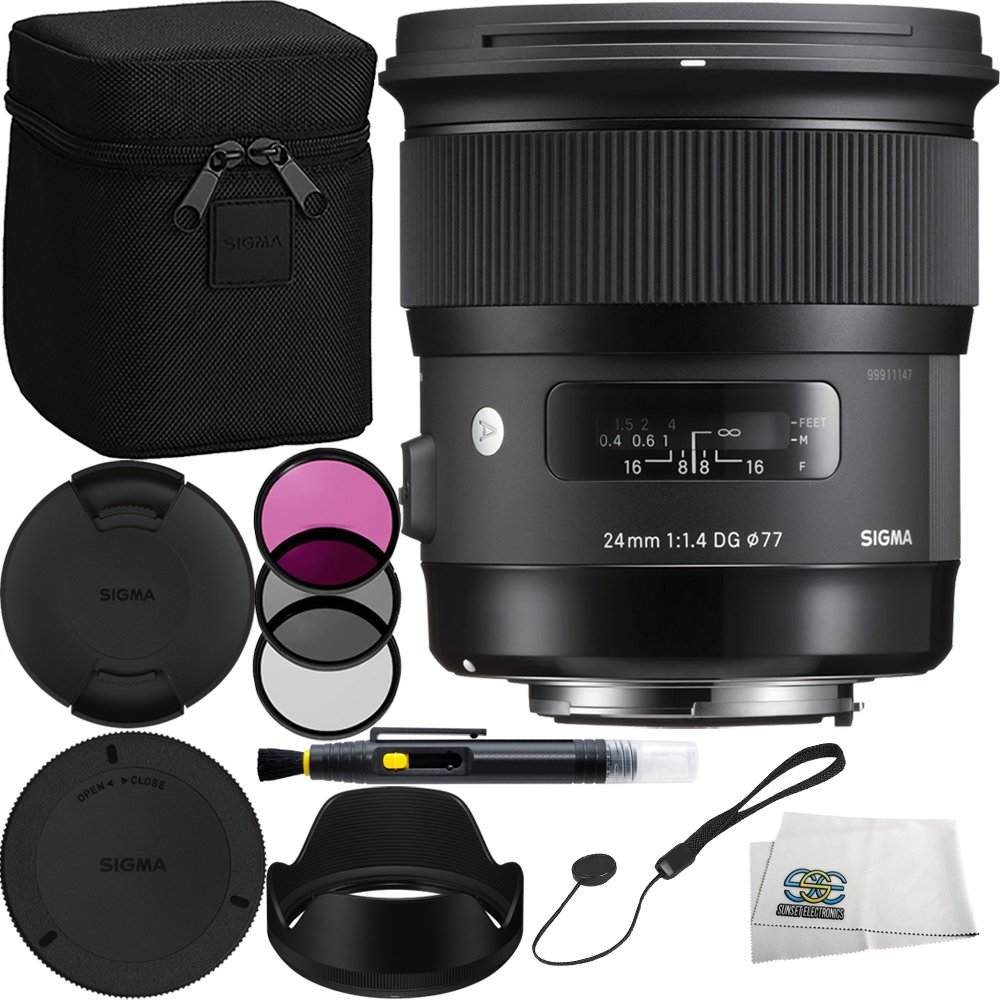 Sigma 24mm f/1.4 DG HSM Art Lens for Canon EF Bundle Includes Manufacturer Accessories + 3PC Filter Kit + Lens Cleaning Pen + Cap Keeper + Microfiber Cleaning Cloth
